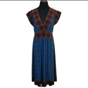 BCBGMAXAZRIA Blue and Brown Medallion Dress